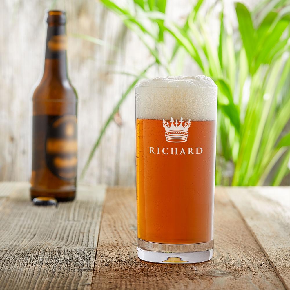Craft Bier Glas mit Gravur - Große Krone - Personalisiert