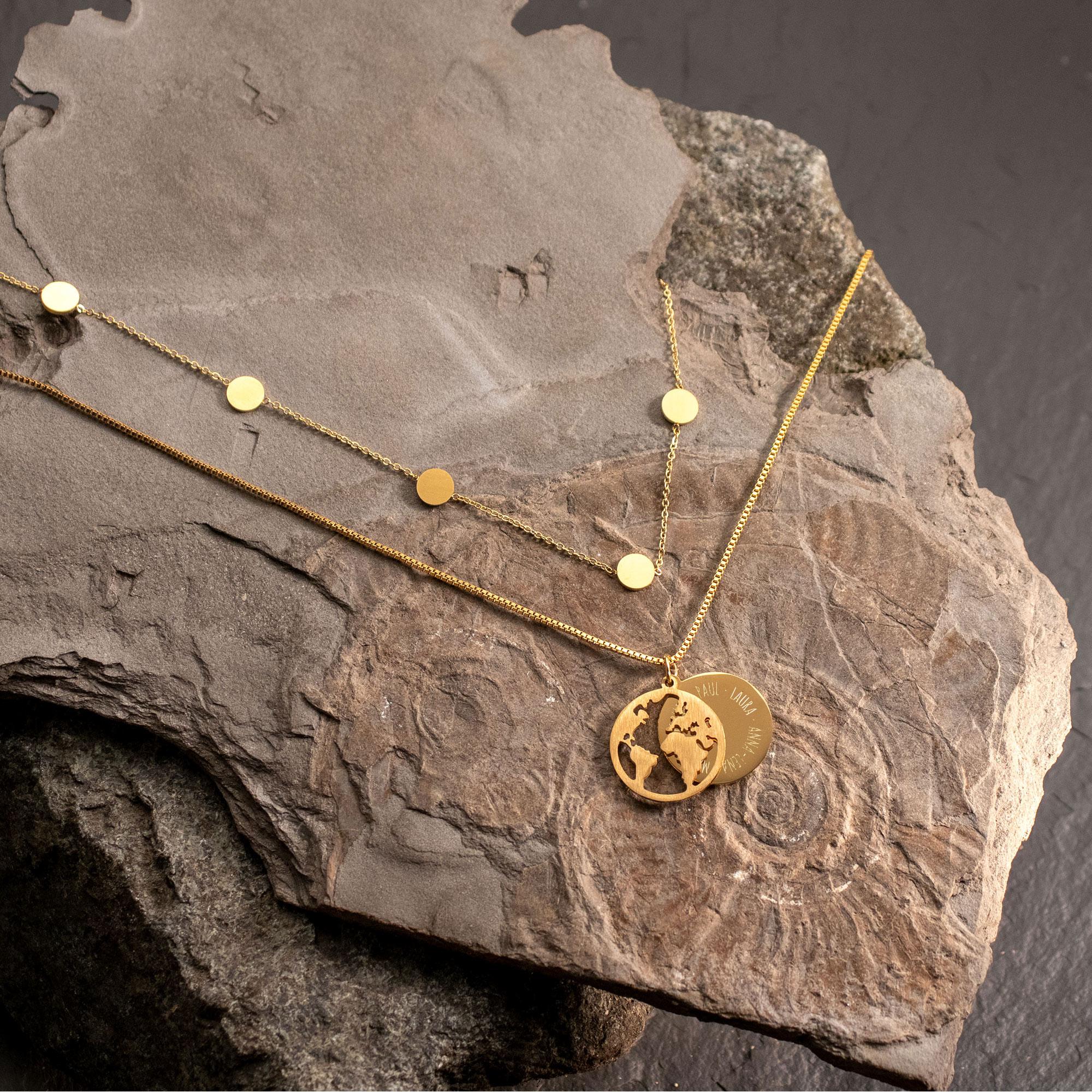 Schmuckset Gold mit Globus und Layering Kette - Namen