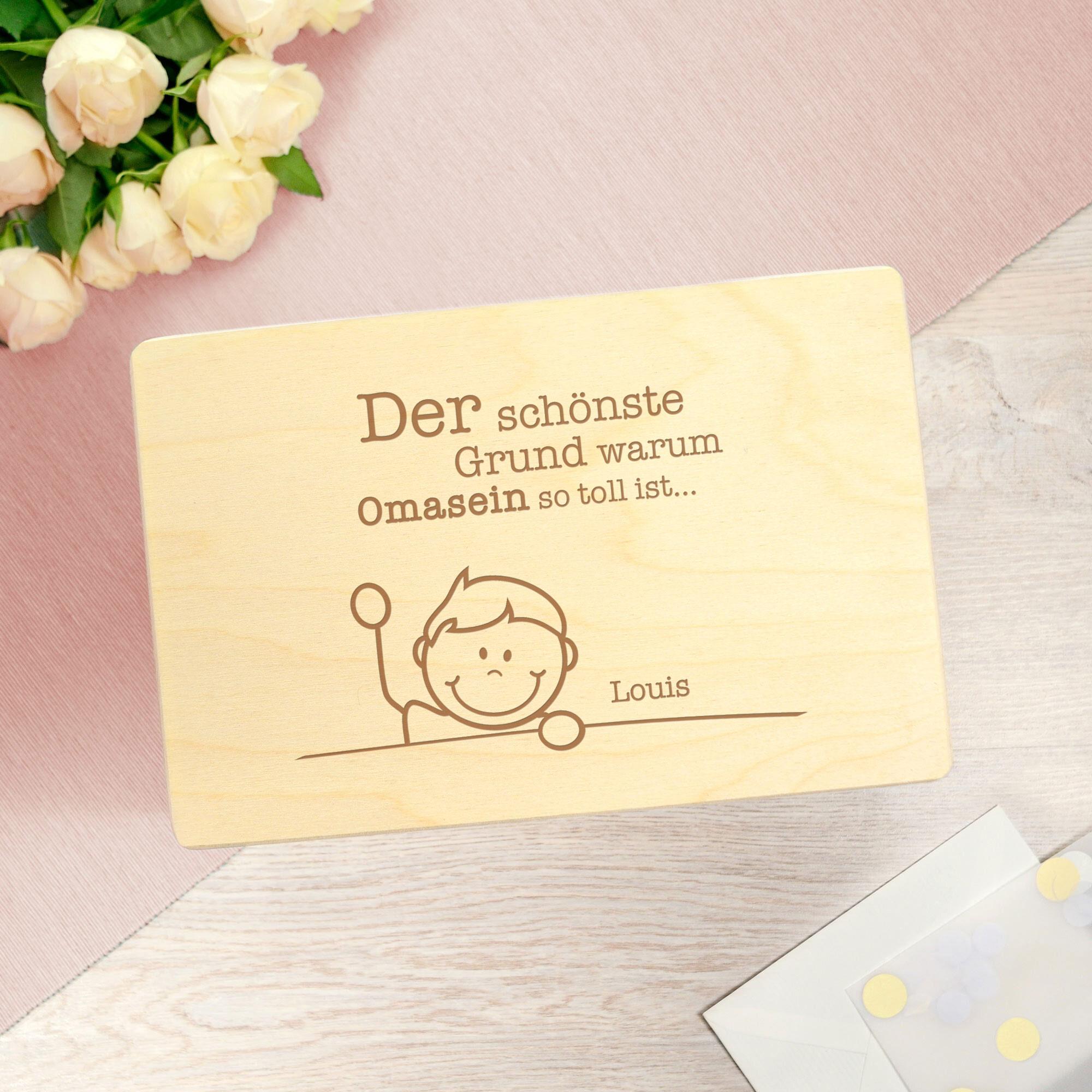 Personalisierte Erinnerungsbox mit Namensgravur - Omasein