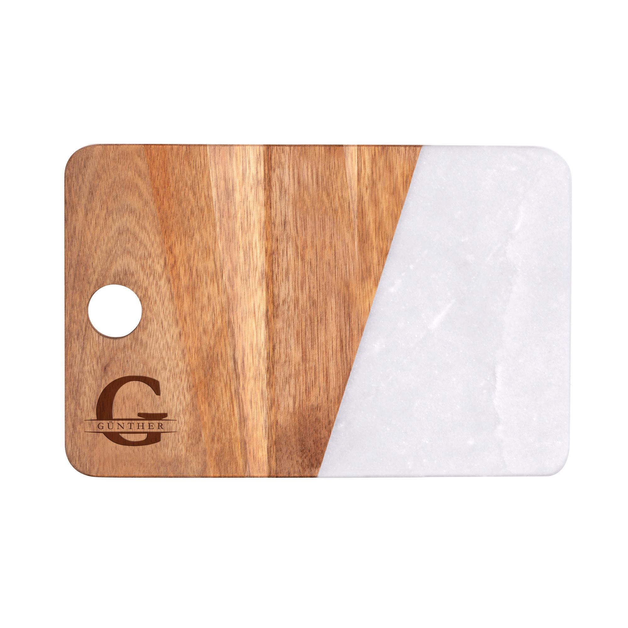 Servierbrett Marmor mit personalisierte Gravur - Initial