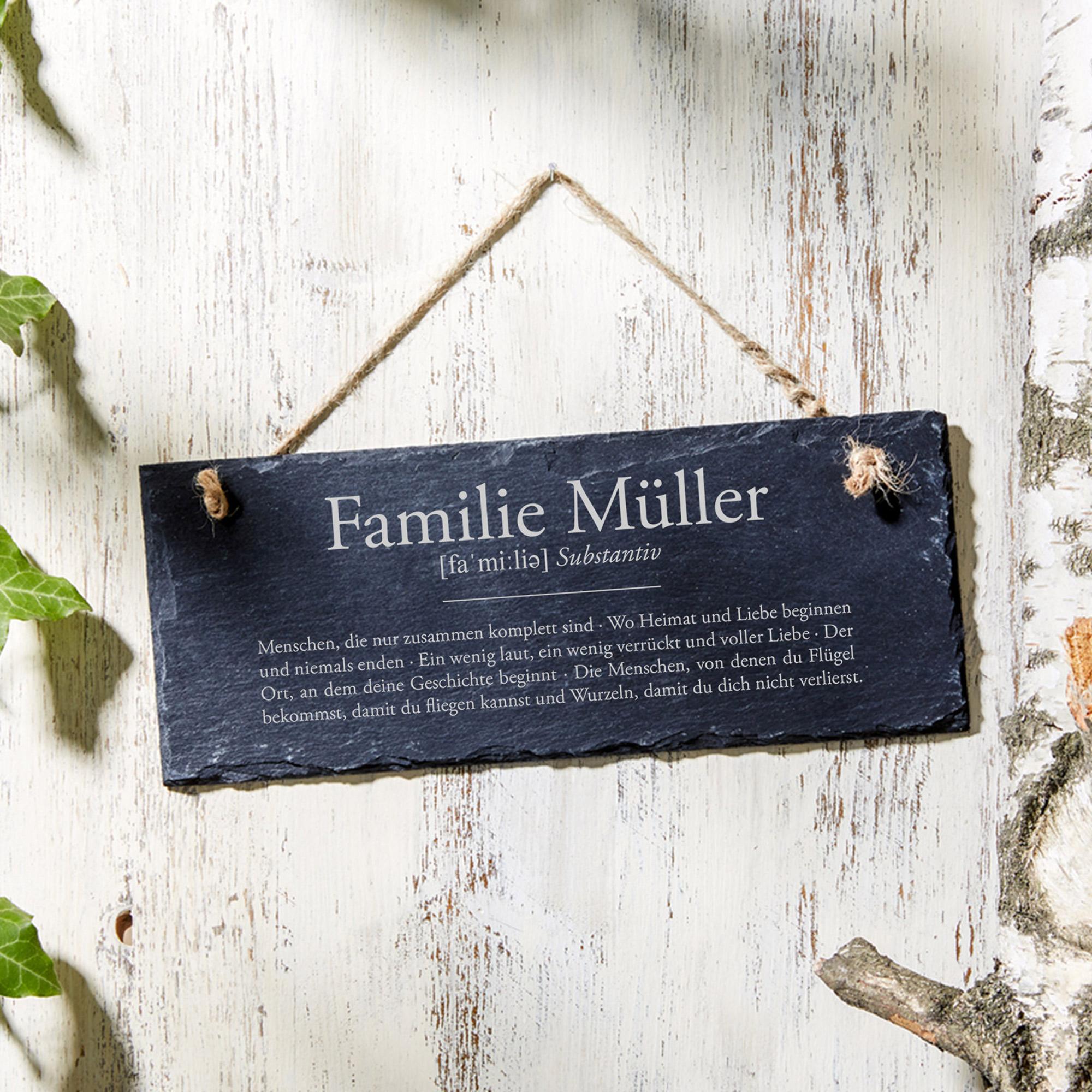 Schiefertafel mit Gravur - Definition Familie - Personalisiert