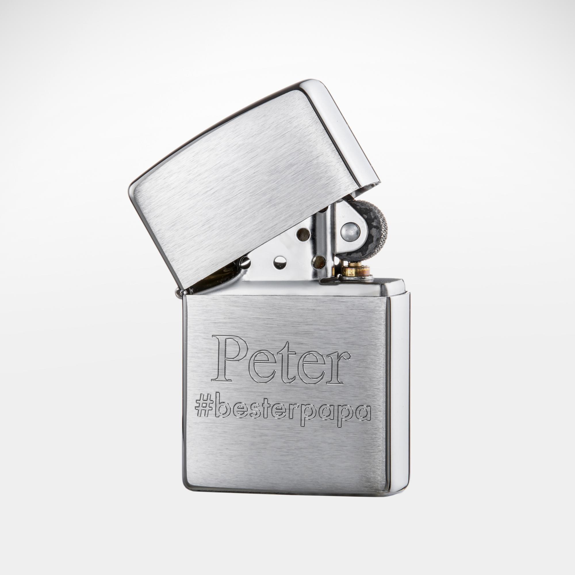 Zippo Feuerzeug - Personalisiert mit Gravur Hashtag Bester Papa
