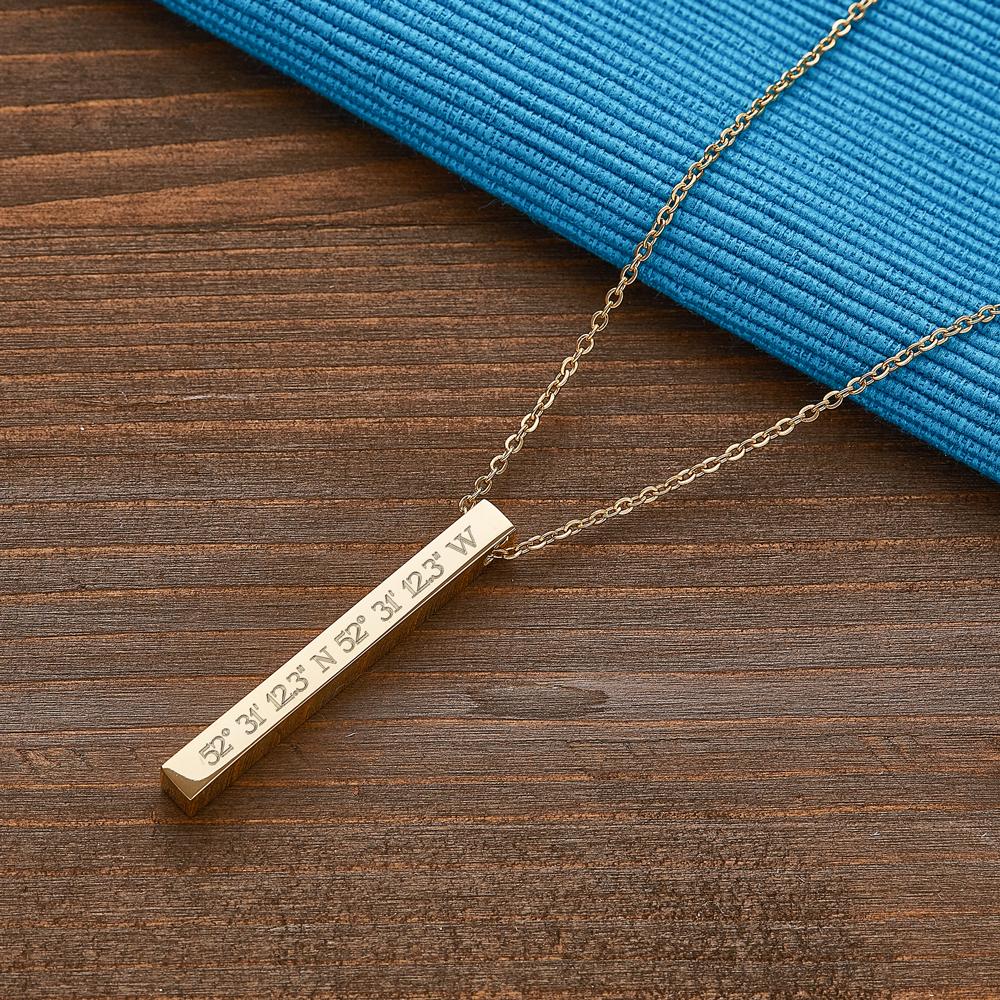 Kette mit Stabanhänger - Gravur Geokoordinaten - Gold - Personalisiert
