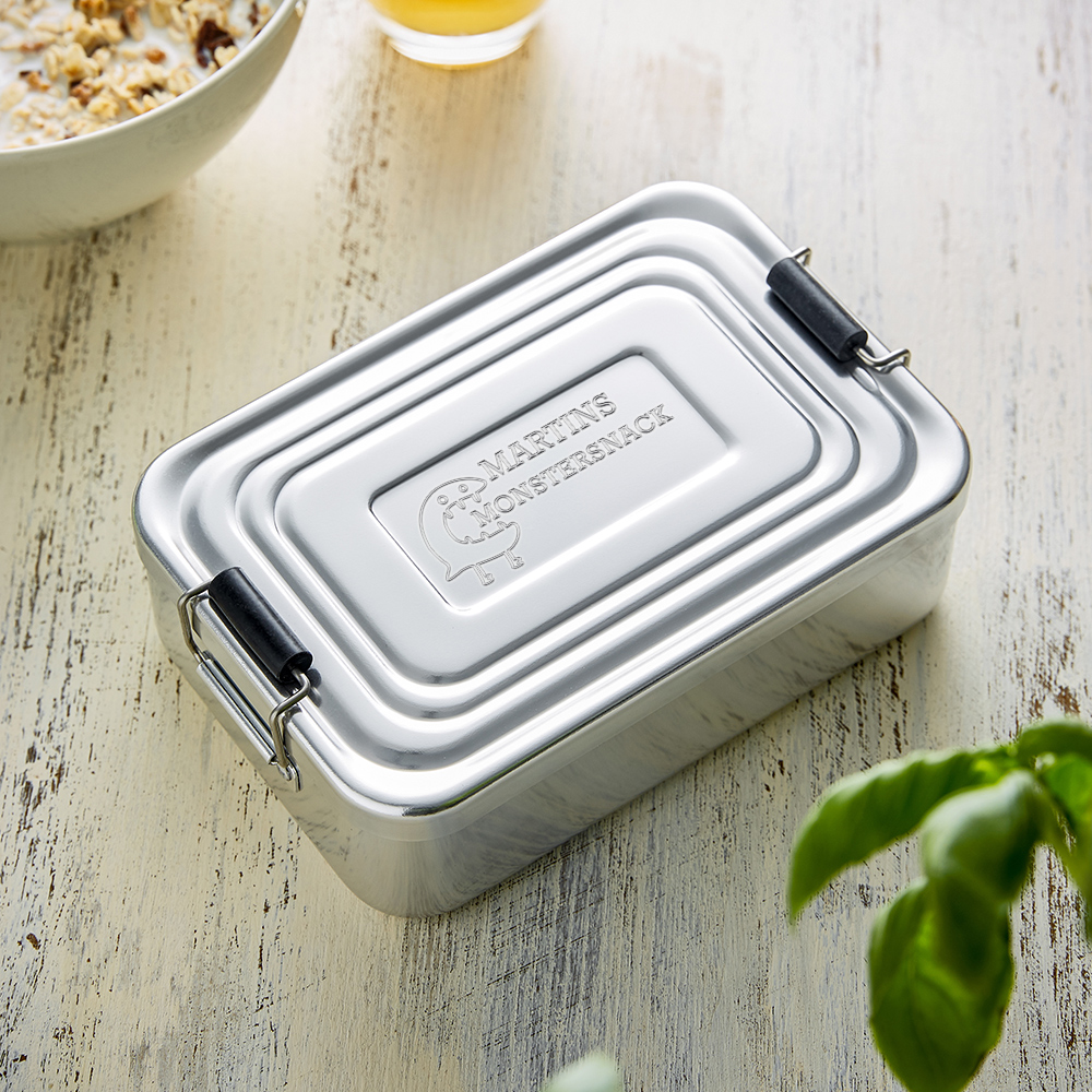 Eckige Brotdose mit Gravur für Kinder - Lunchbox - Personalisiert