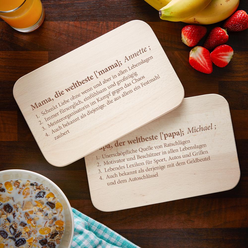 Frühstücksbrett mit Gravur - 2er Set Definition Mama Papa