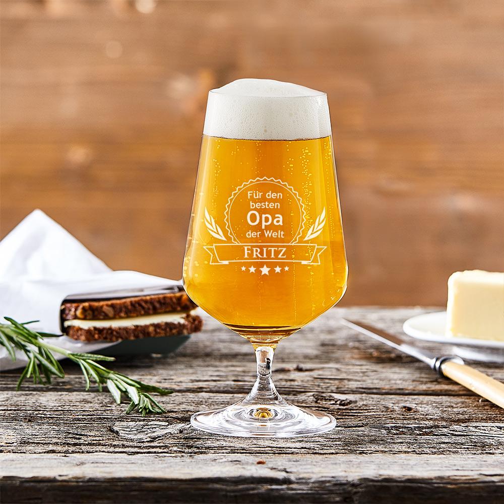 Bierglas mit Gravur - Bester Opa - Motiv Eichenblätter