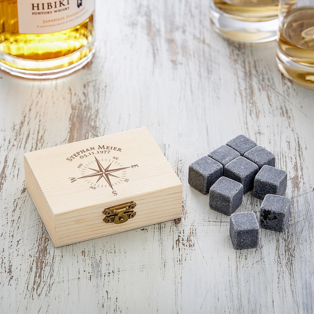 Whiskysteine in edler Holzbox mit Gravur - Kompass