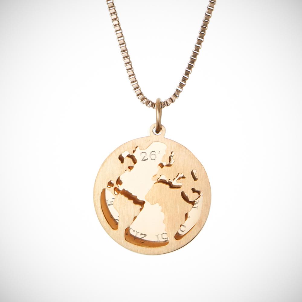 Halskette mit Gravur - Globus und Geokoordinaten - Gold - Personalisiert