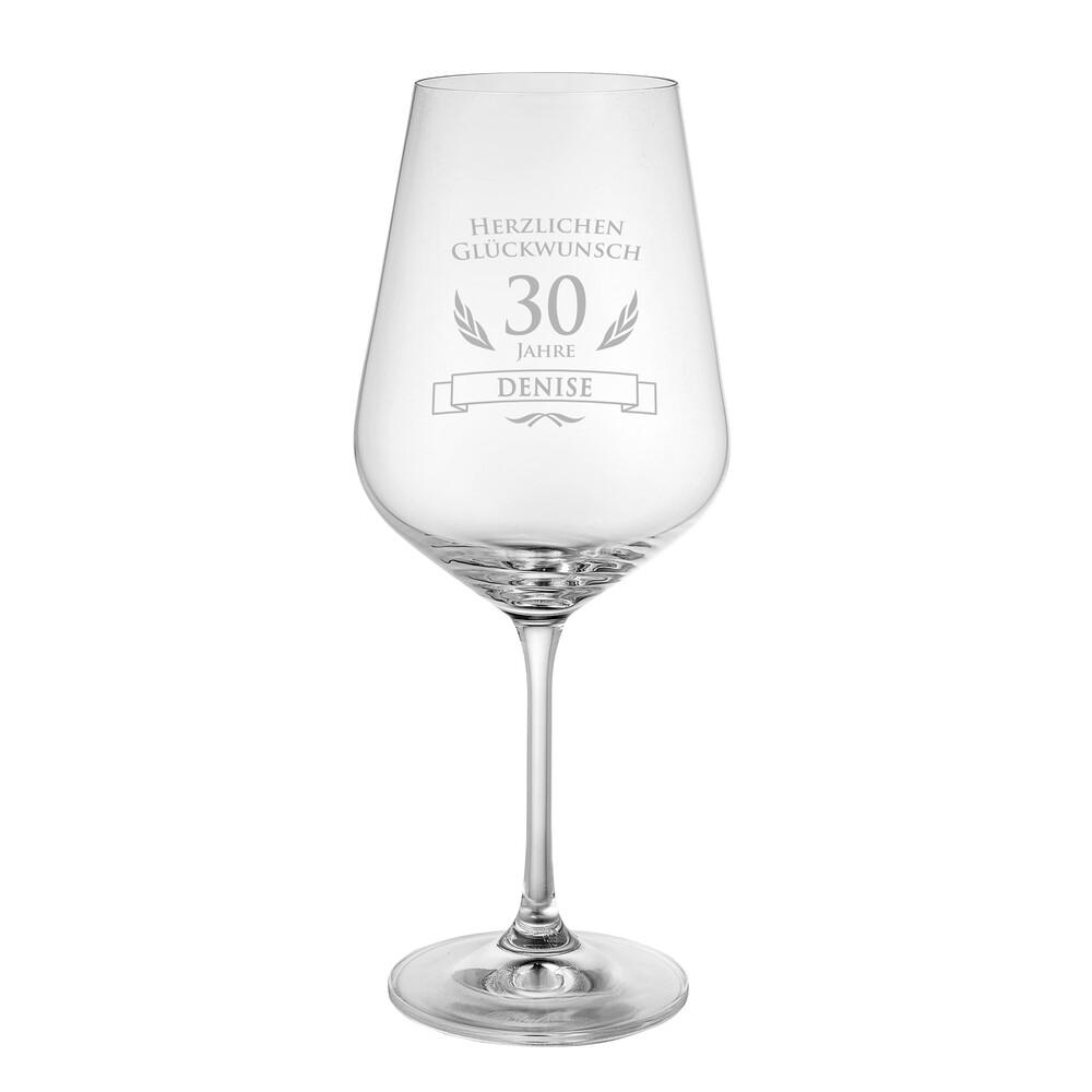Weinglas zum 30. Geburtstag
