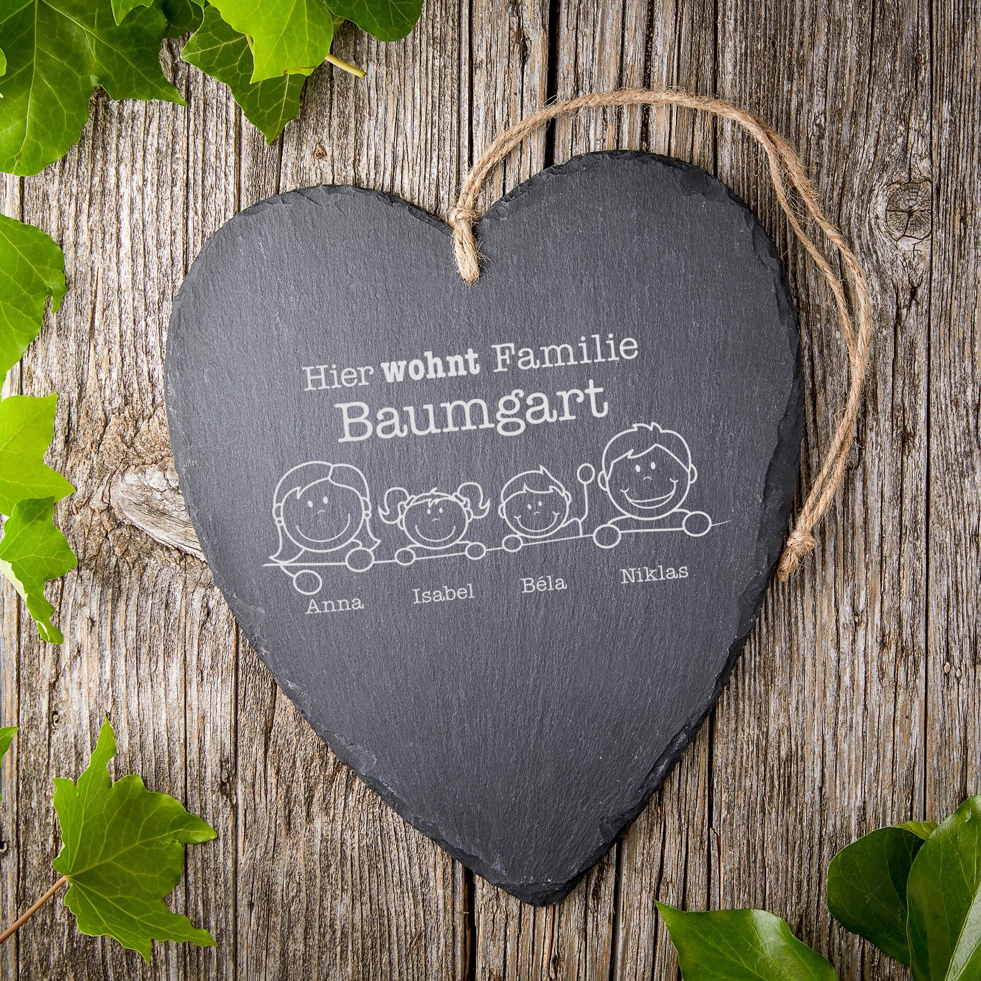 Schieferherz mit Gravur - Hier wohnt Familie - Personalisiert