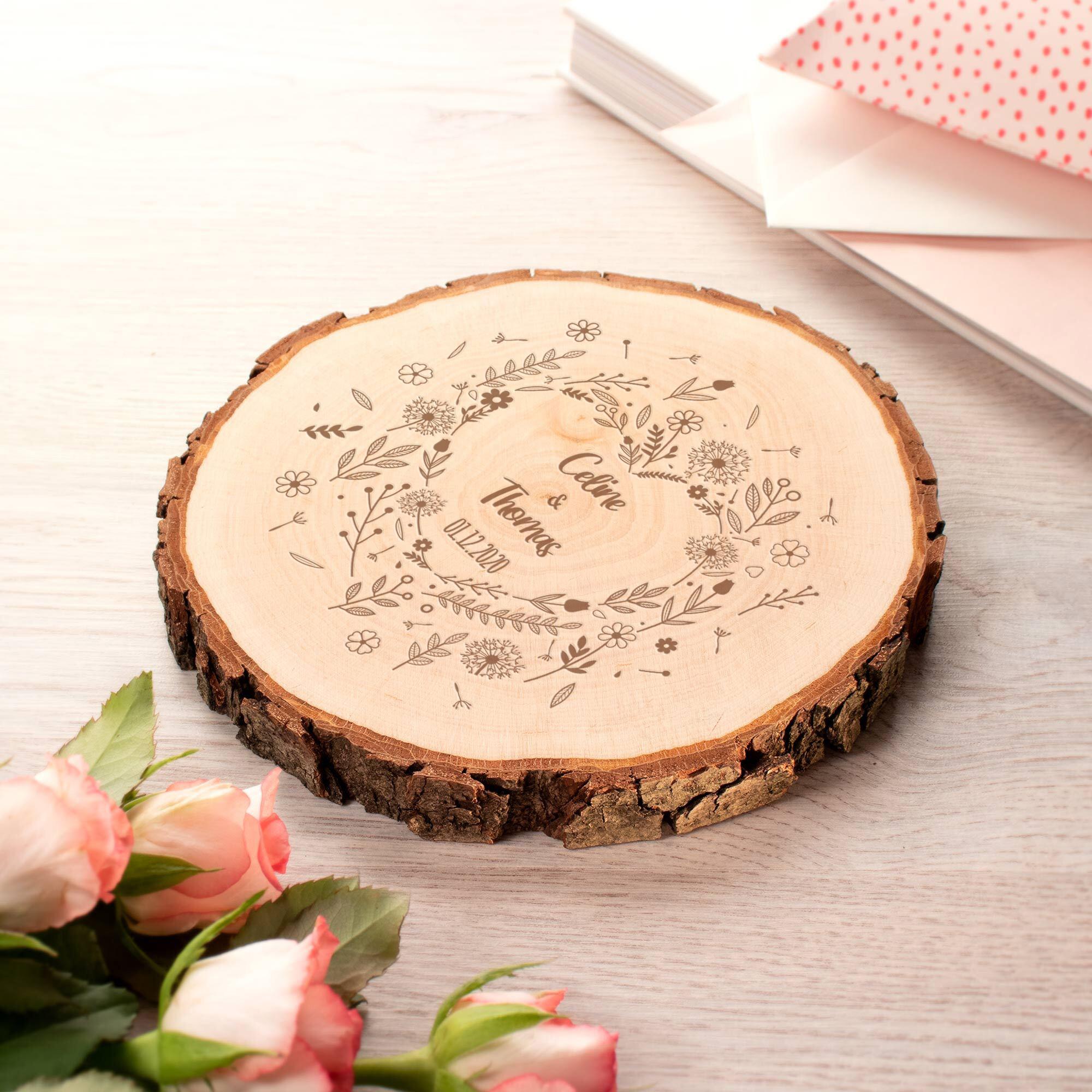 Baumscheibe - Blumenherz Hochzeit - Personalisiert