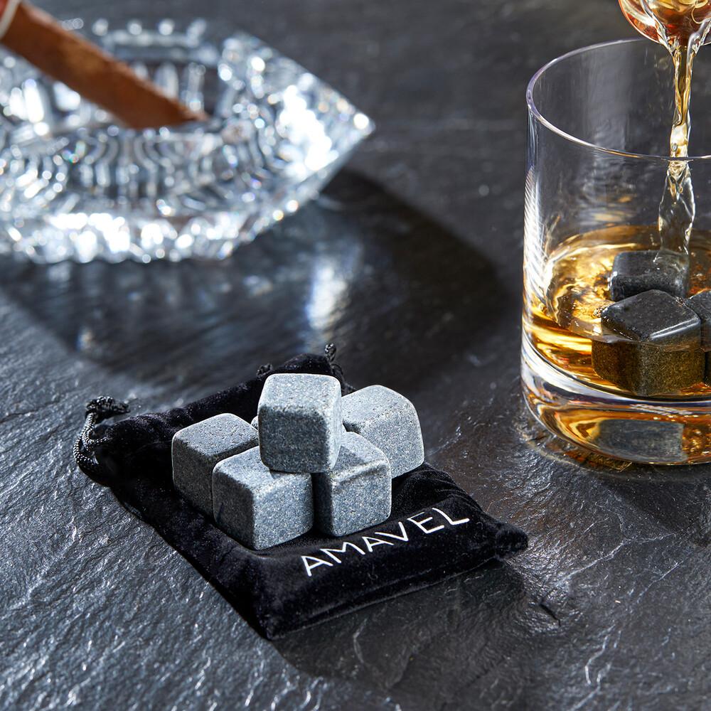 Whiskysteine in edler Holzbox mit Gravur - On The Rocks