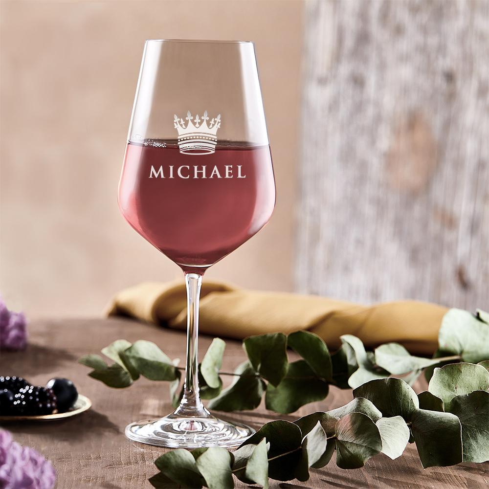 Weinglas mit Gravur Große Krone - Rotweinglas - Personalisiert