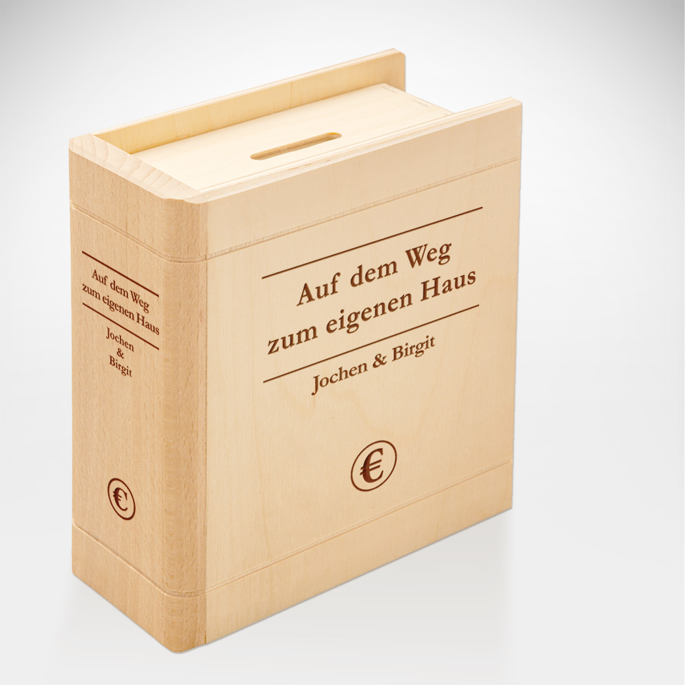 Spardose Buch aus Holz mit Gravur