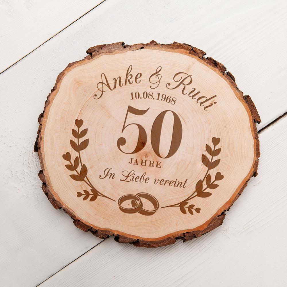 Baumscheibe mit Gravur zur Goldenen Hochzeit - Personalisiert