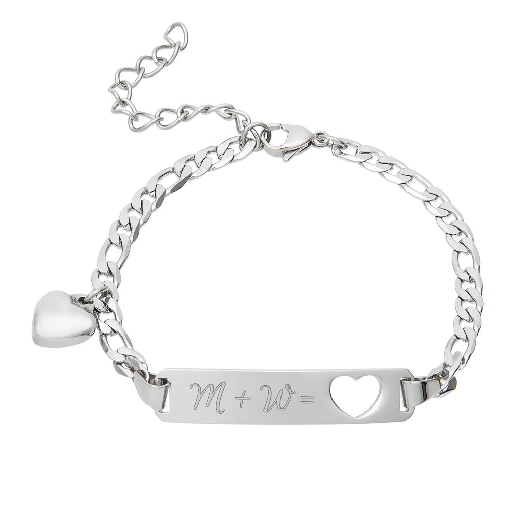 Armband mit Gravur - Initialen Herz Silber - Personalisiert