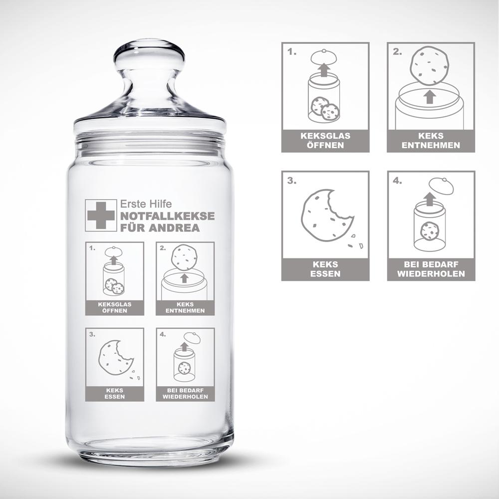 Notfall Keksglas - Personalisiert mit individueller Gravur