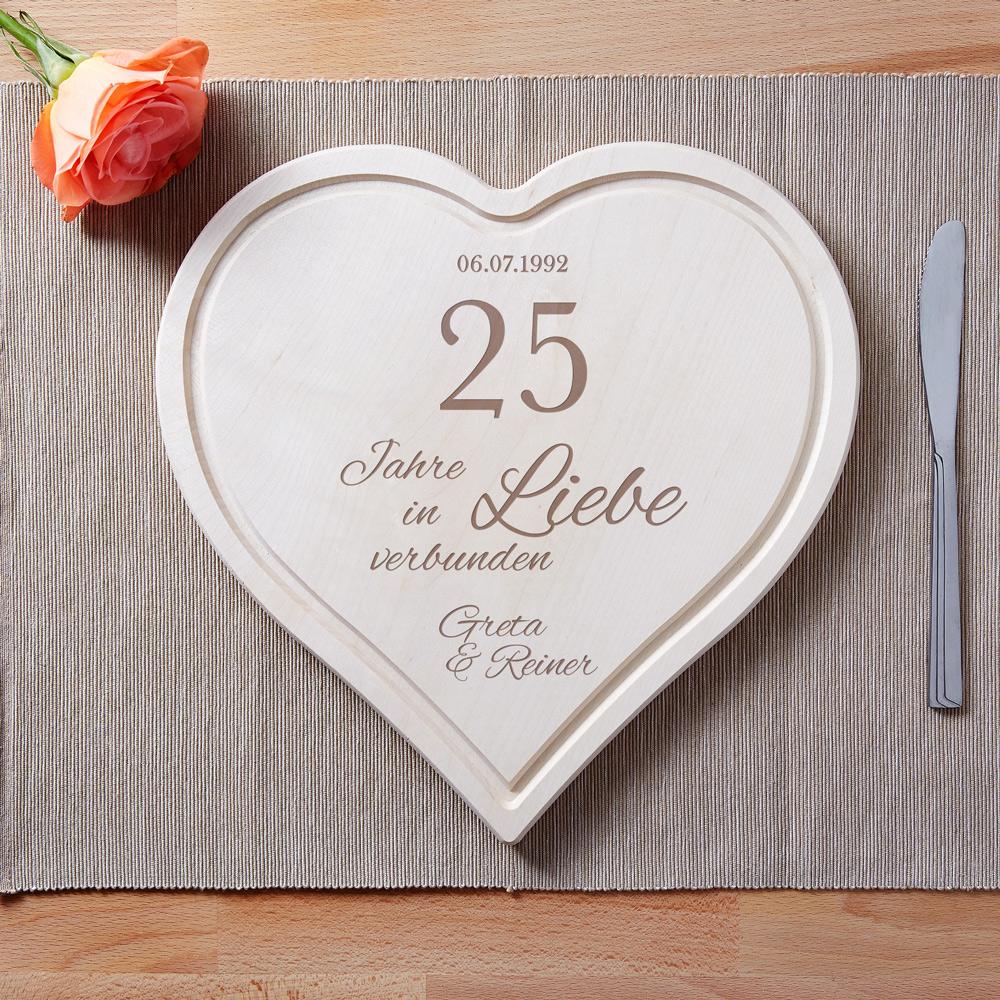 Herzbrett mit Gravur in Liebe Silberhochzeit - Personalisiert