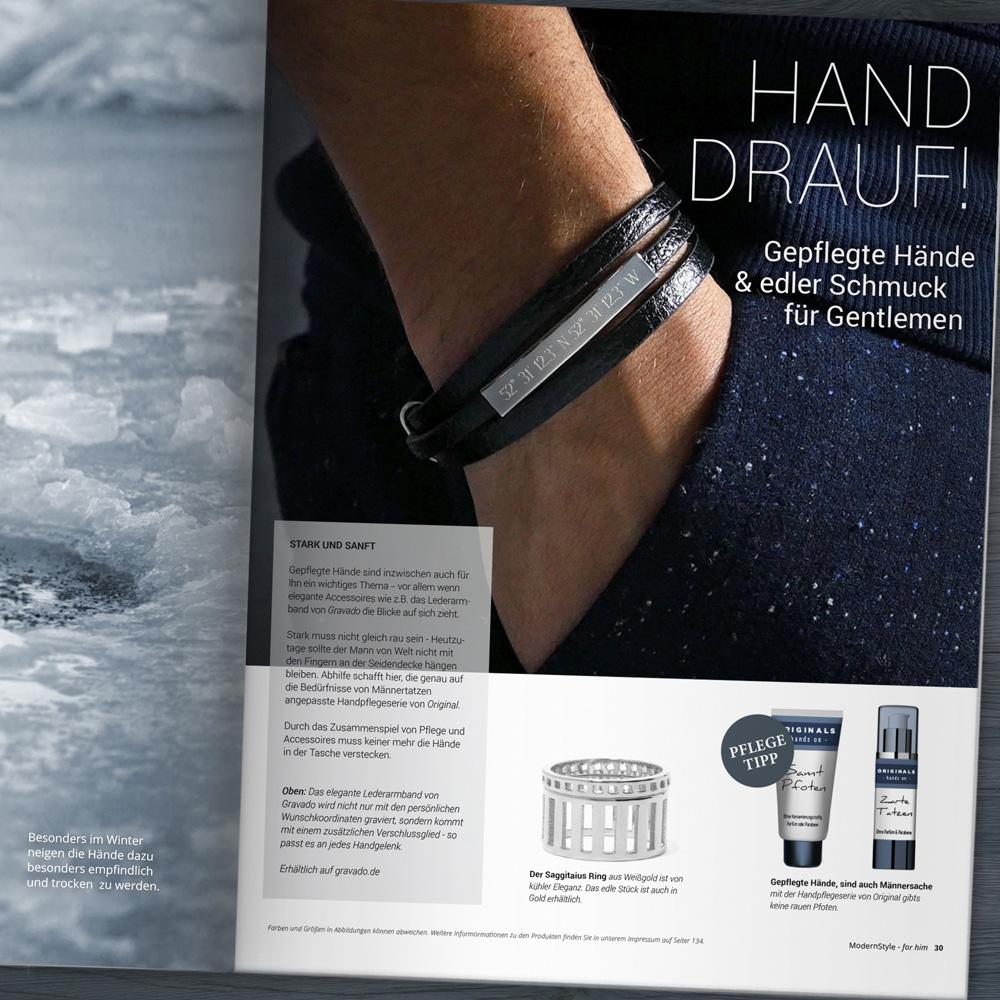 Herrenarmband mit Gravur - Leder Armband - Geokoordinaten