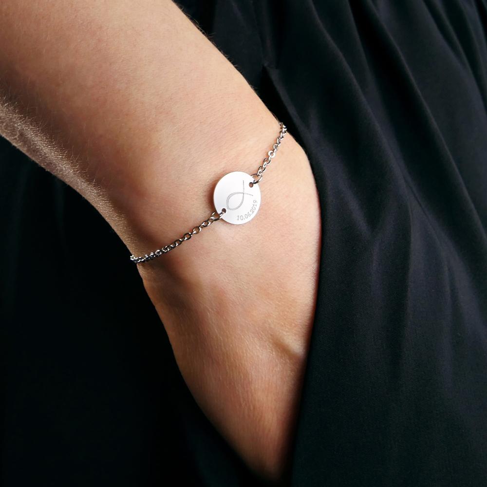 Armkettchen mit Gravur - Silber - Fisch - Personalisiert