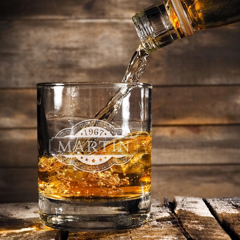 Whiskyset - Whiskysteine und Whiskyglas mit Gravur - Banderole