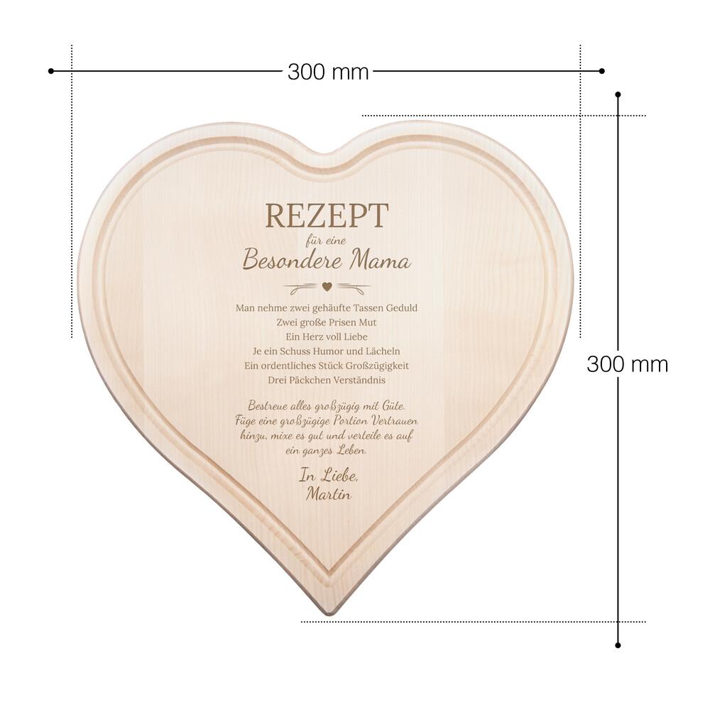 Herzbrett mit Gravur - Rezept Mama - Personalisiert