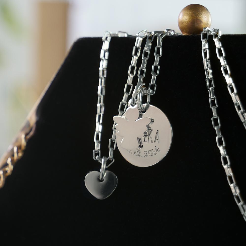 Halskette mit Gravur - Anhänger Herz und Engel - Personalisiert