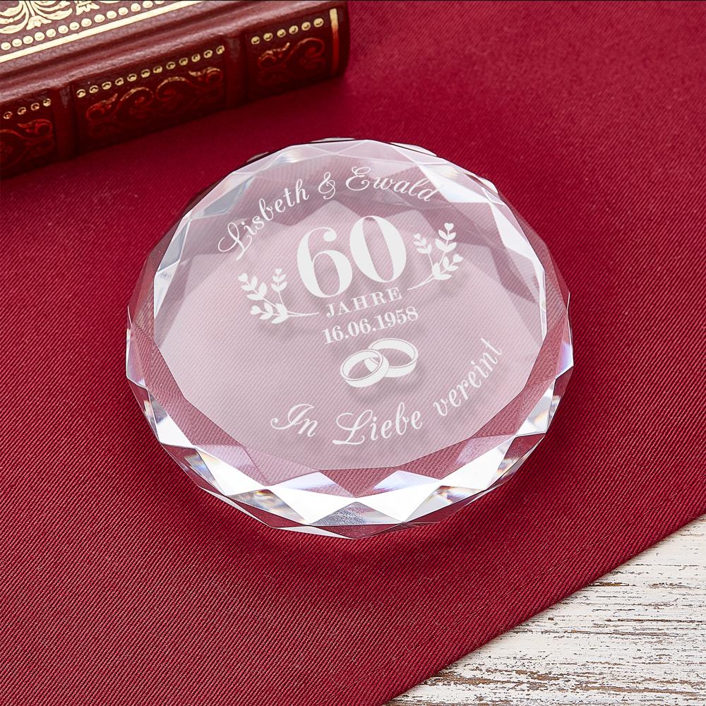 Kristall mit Gravur zur Diamantenen Hochzeit - Personalisiert