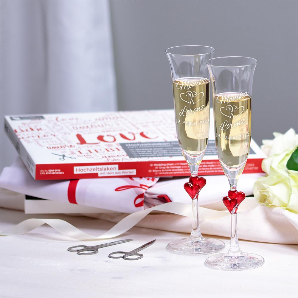 Hochzeitsset - Hochzeitslaken Wortherz und Herz-Sektgläser mit Gravur