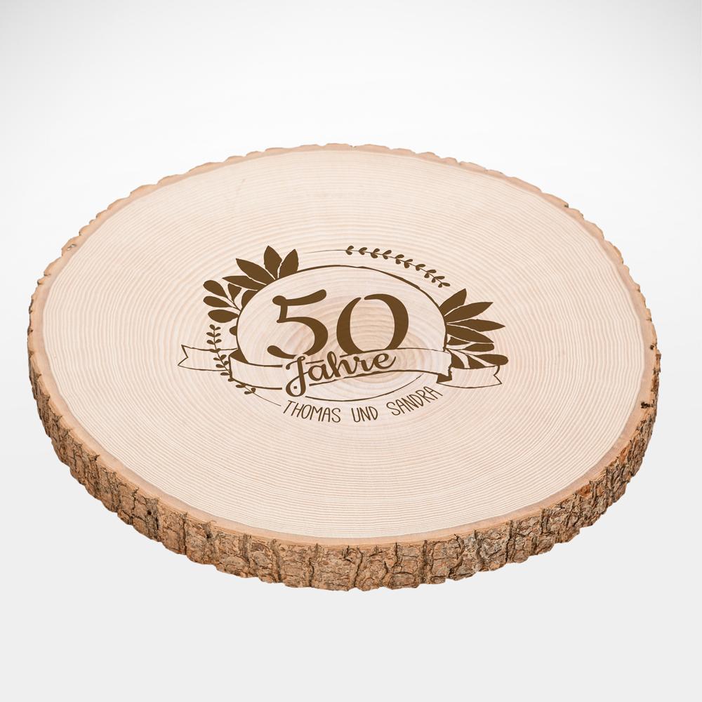 Riesen Baumscheibe mit Gravur - Jubiläum - Personalisiert