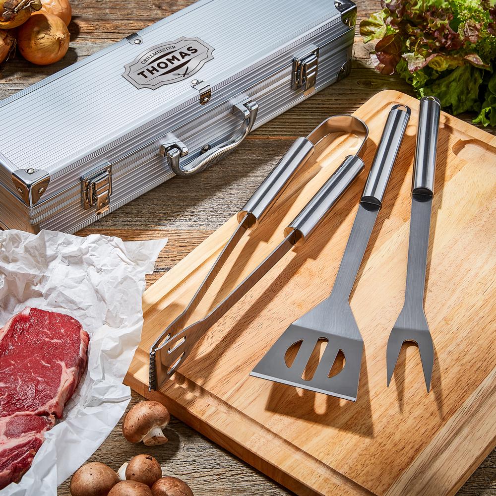 Grillbesteck - Grillset im Grillkoffer mit Gravur - Personalisiert