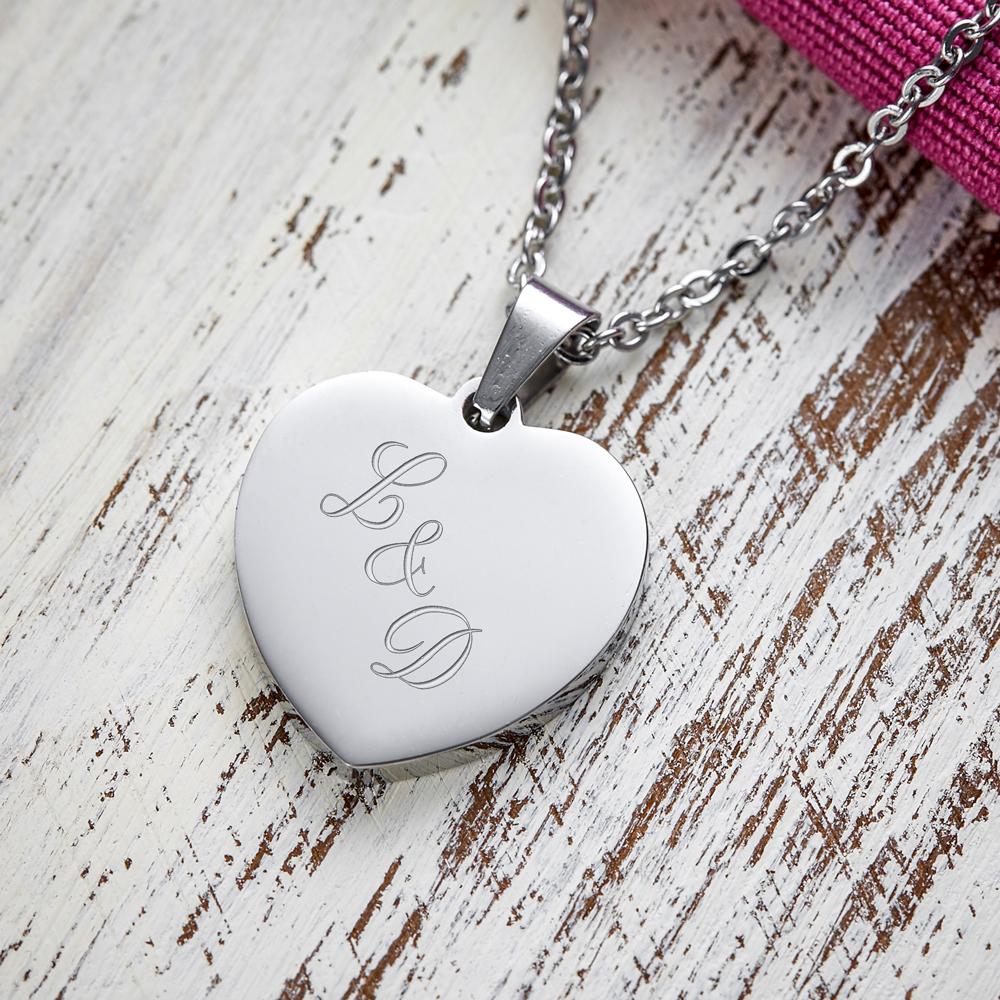 Herz Anhänger Kette mit Gravur Initialen - Silber - Personalisiert