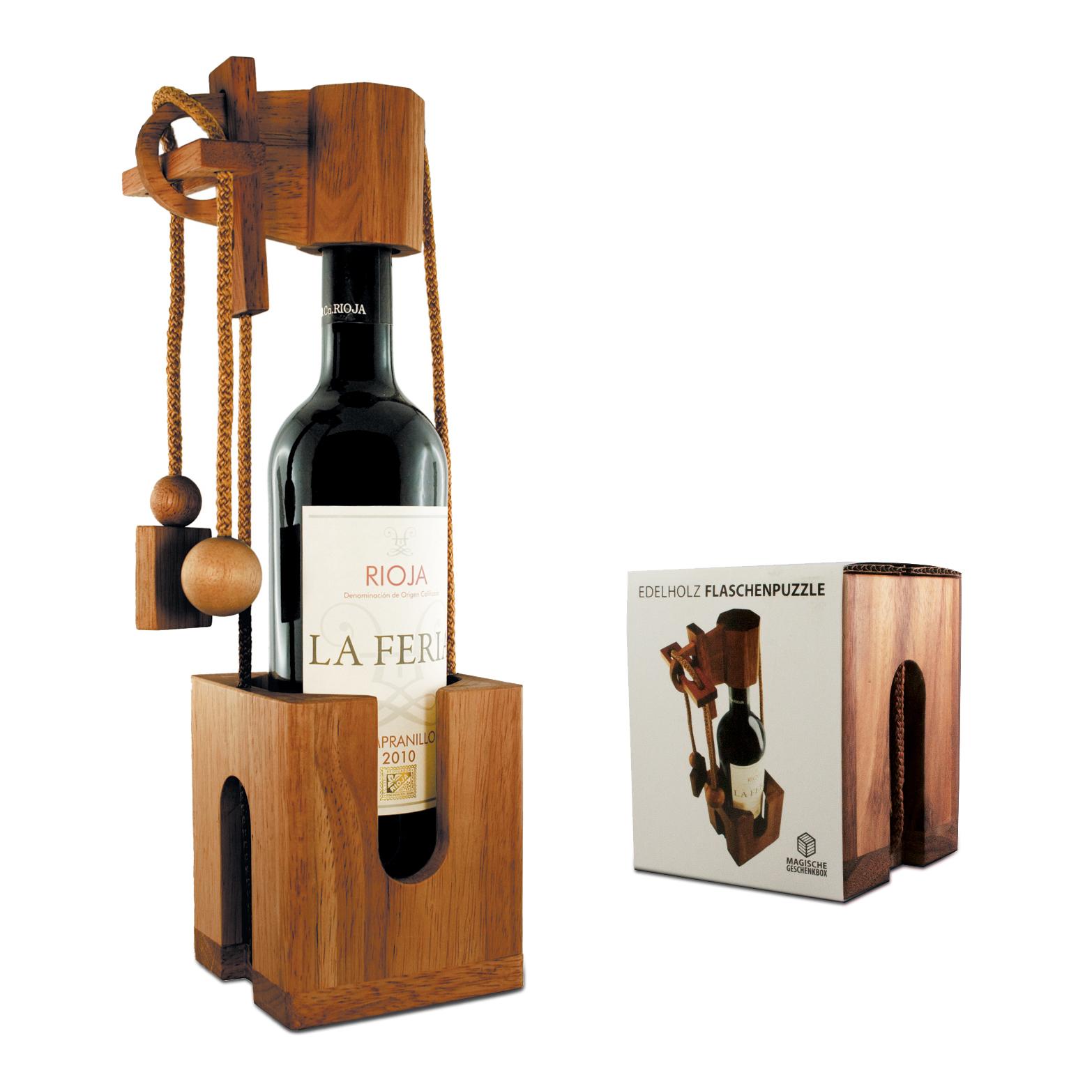 Edelholz Flaschenpuzzle aus dunklem Holz