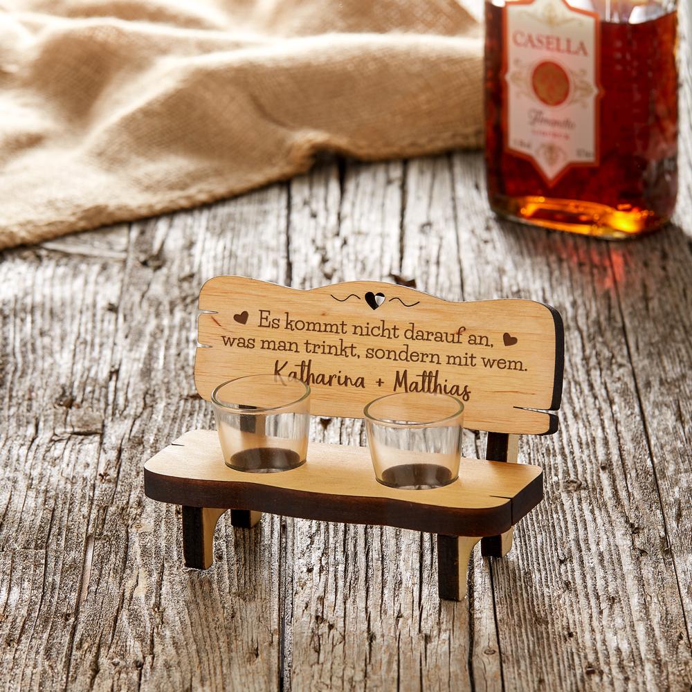 Schnapsbank mit Gravur - Gemeinsam trinken - Personalisiert