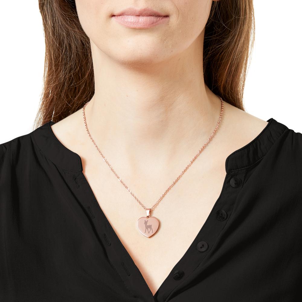 Herz Anhänger Kette mit Gravur - Reh - Roségold - Personalisiert