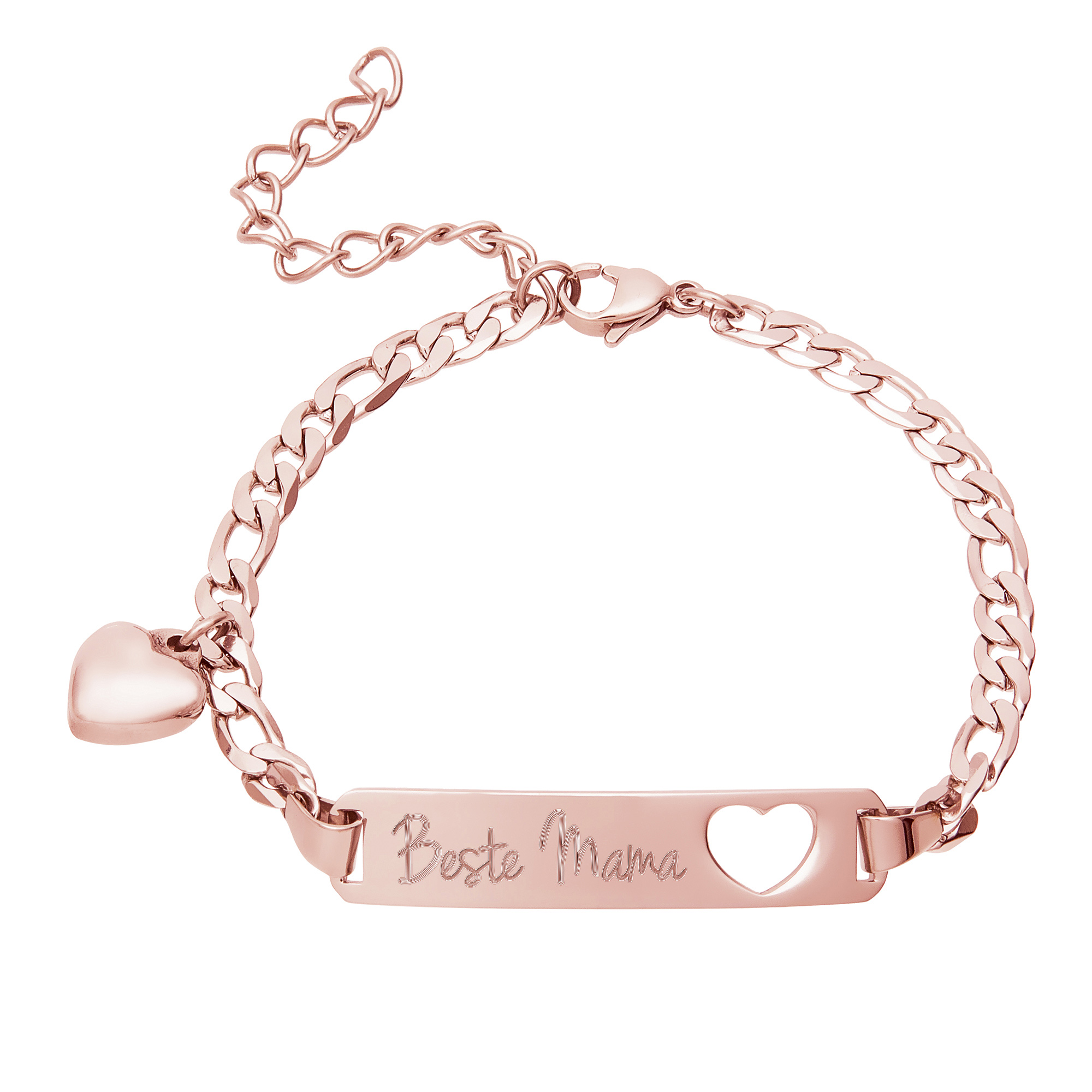Roségold Armband mit Gravur für Beste Mama - Herzstanze