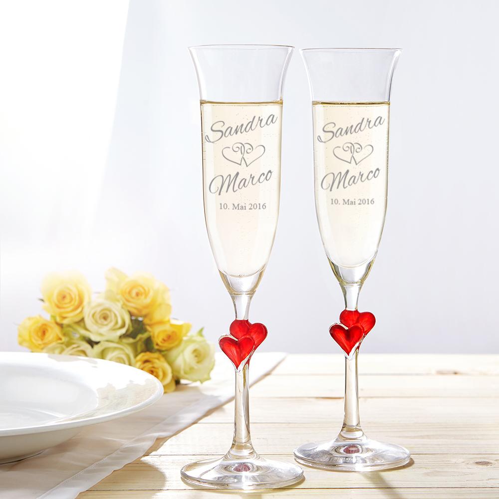 Hochzeitsset - Hochzeitslaken und Herz Sektgläser mit Gravur zur Hochzeit