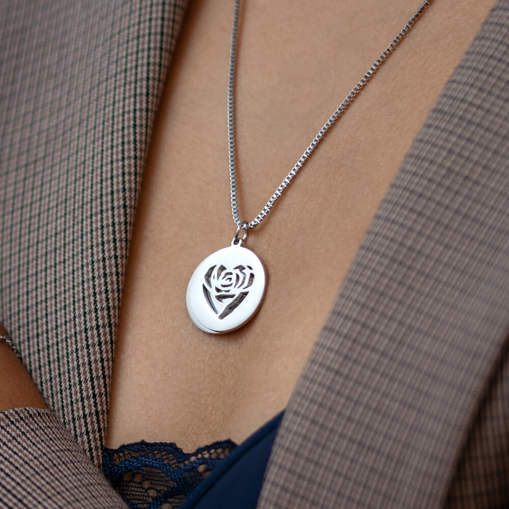 Herzkette mit Gravur - Namen und Datum - Silber - Personalisiert