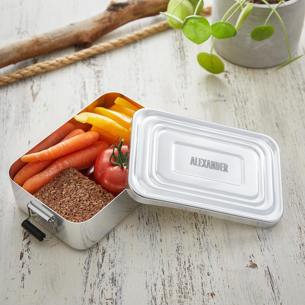 Eckige Brotdose mit Gravur aus Aluminium - Lunchbox - Personalisiert
