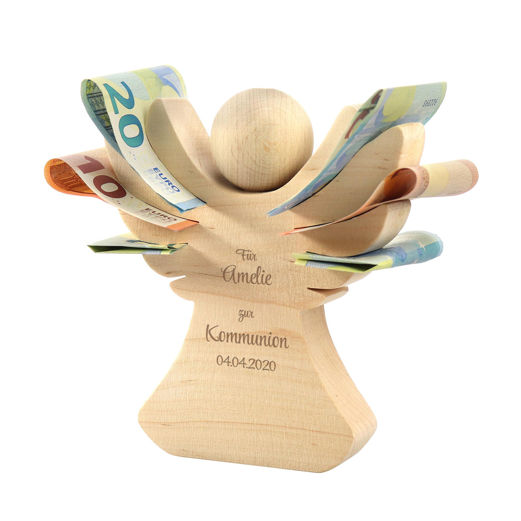 Engel aus Holz mit Gravur zur Kommunion - Personalisiert