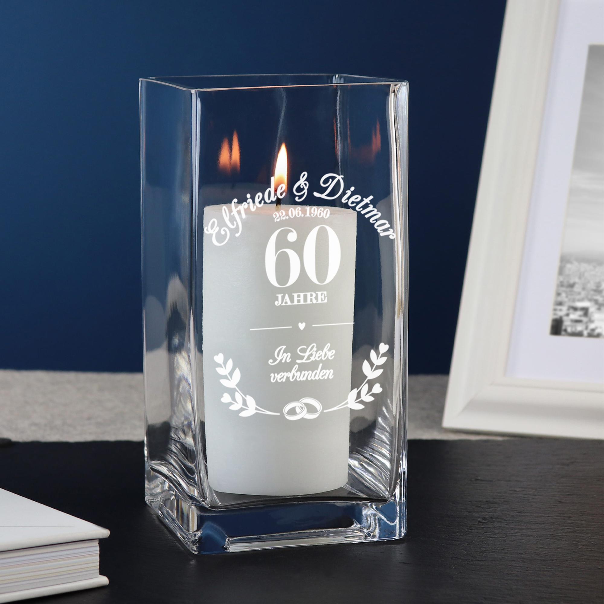Vase mit Gravur Diamanthochzeit - Personalisiert