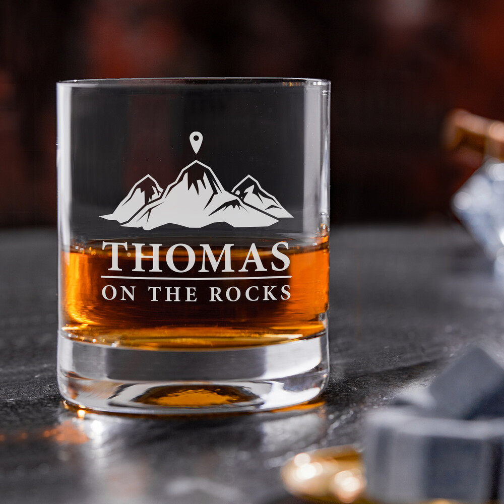 Whiskyglas mit Gravur On The Rocks - Personalisiert