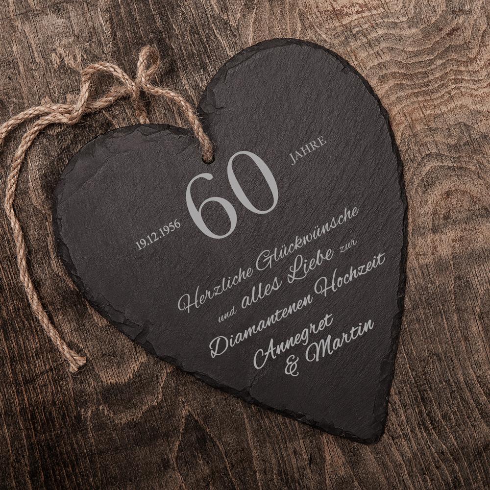 Schieferherz zur diamantenen Hochzeit mit Gravur - Personalisiert