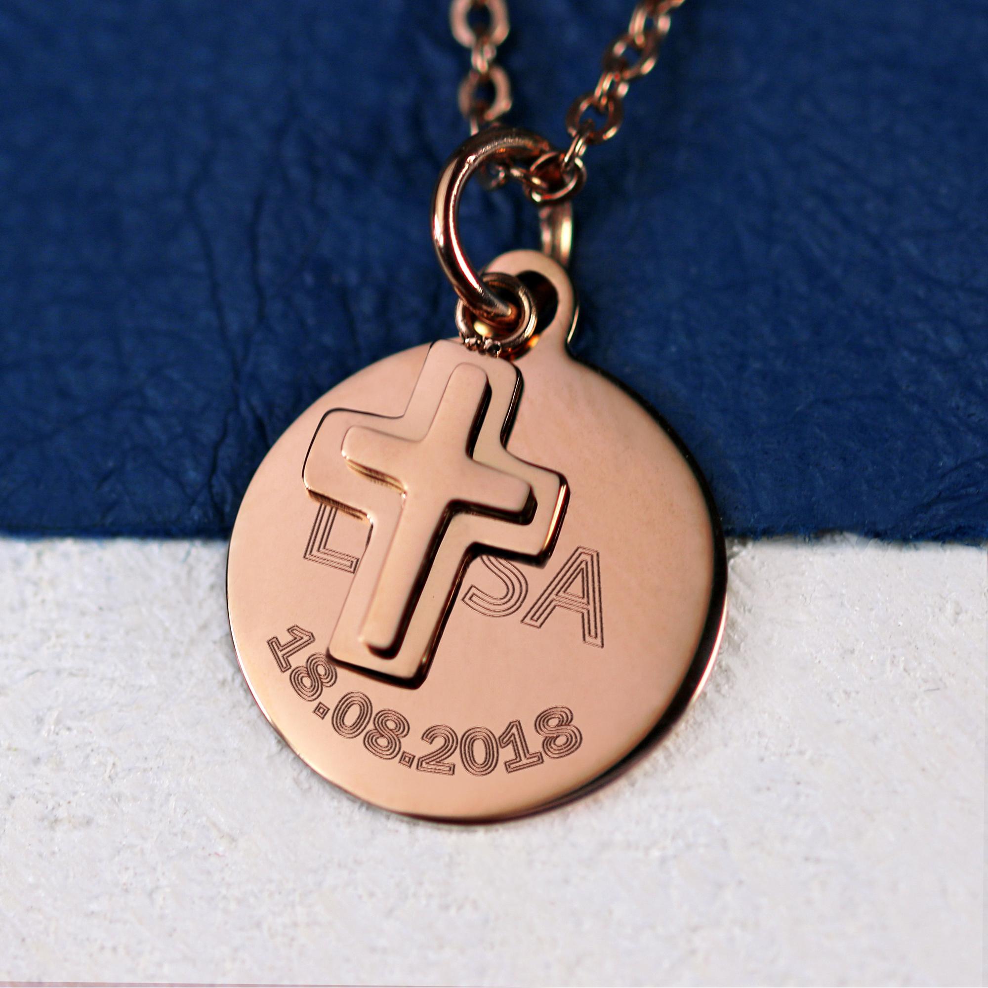Halskette mit Gravur - Kreuz Anhänger - Farbe Rose - Personalisiert