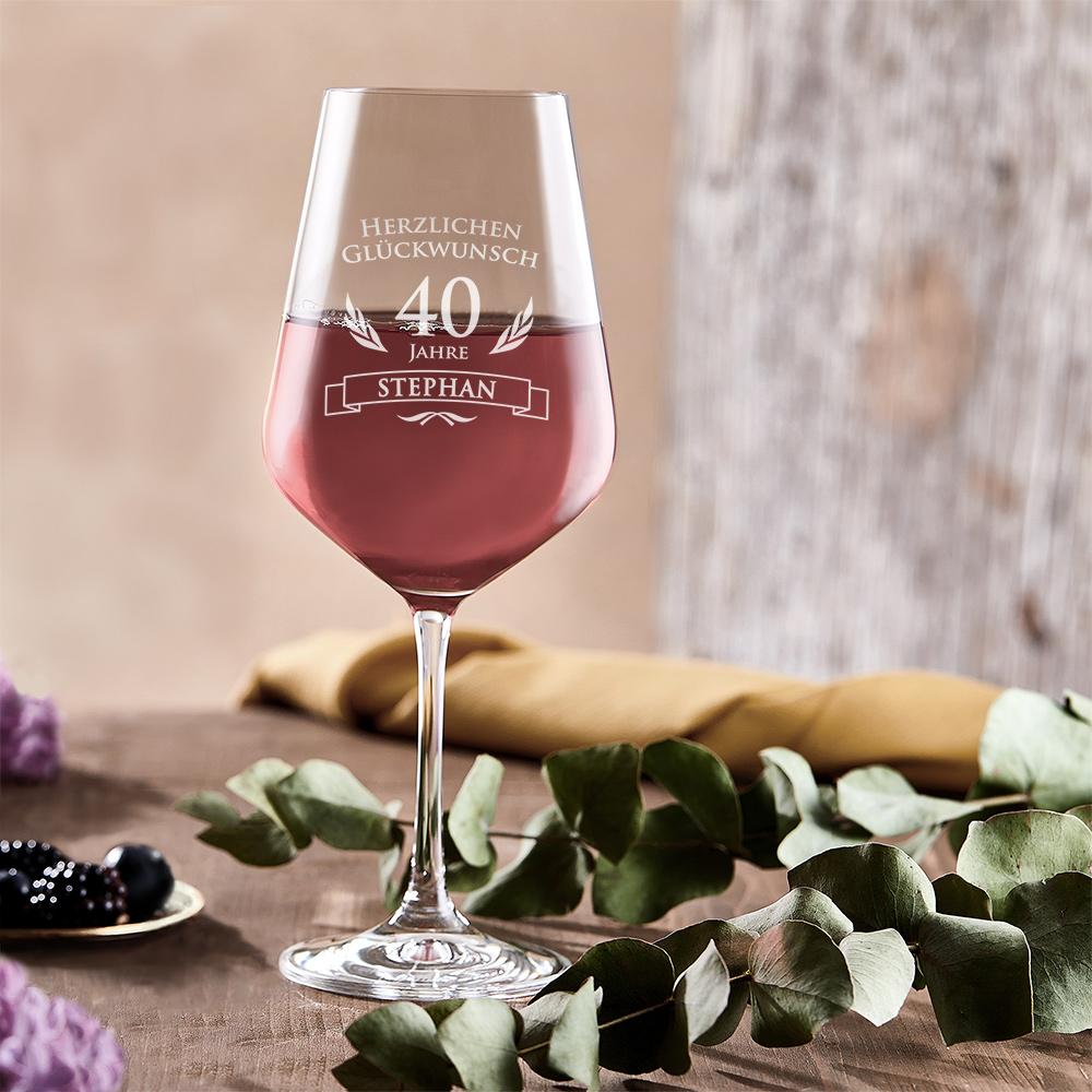 Weinglas zum 40. Geburtstag