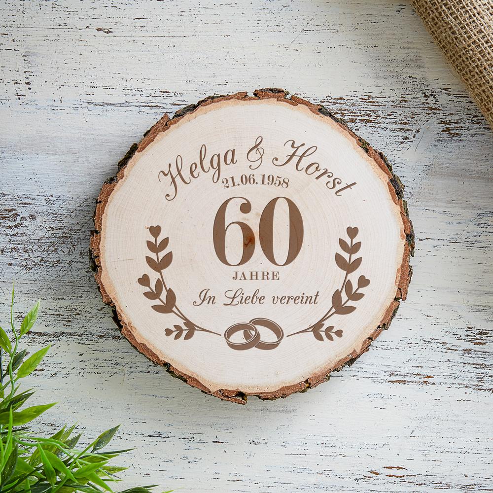 Baumscheibe mit Gravur zur Diamantenen Hochzeit - Personalisiert