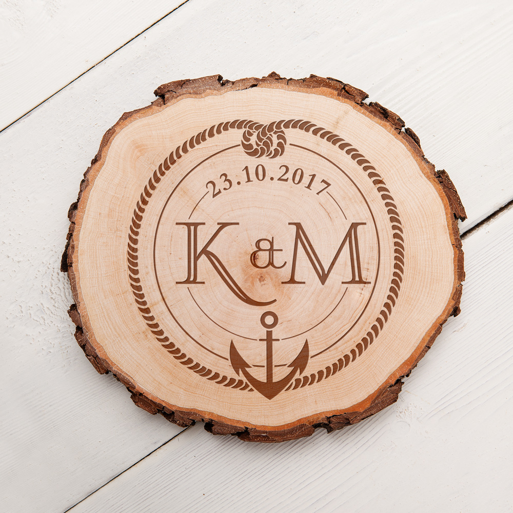 Baumscheibe mit Gravur - Monogramm Anker und Knoten - Personalisiert