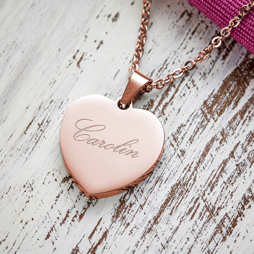 Herz Anhänger Kette mit Gravur - Name - Roségold - Personalisiert