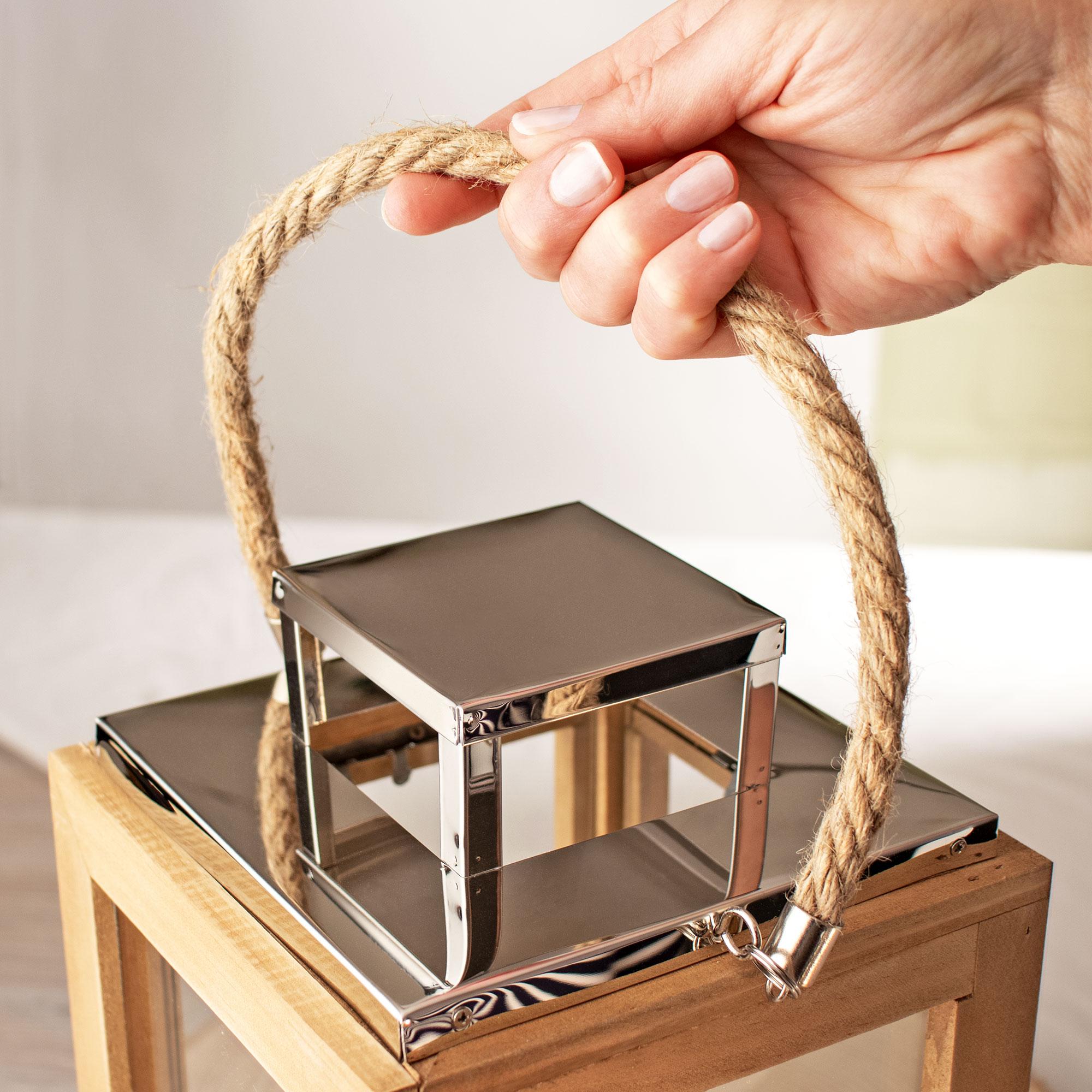 Laterne aus Holz mit Gravur Ringe - Personalisiert