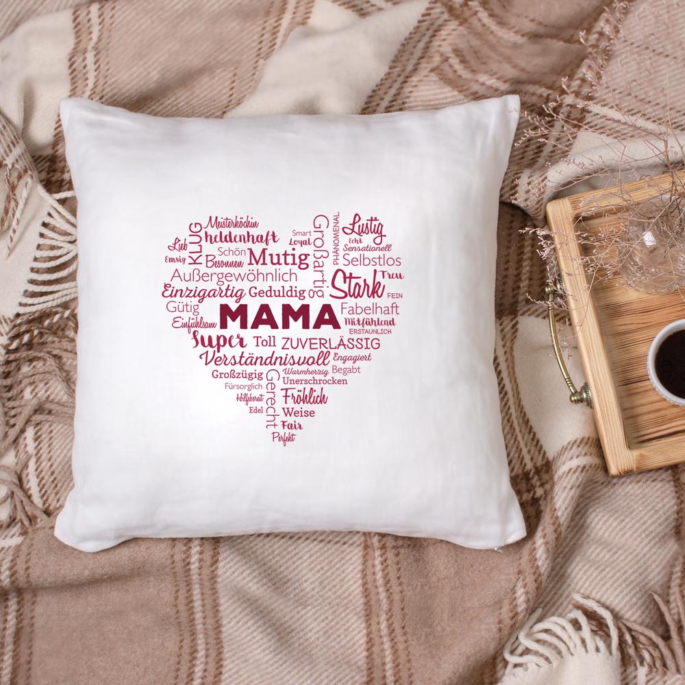 Bedrucktes Kissen - Wortwolke für Mama